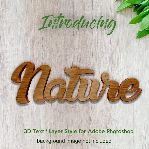 Effetti di testo di stile di livello del photoshop del bordo di legno del legname 3d Psd Premium