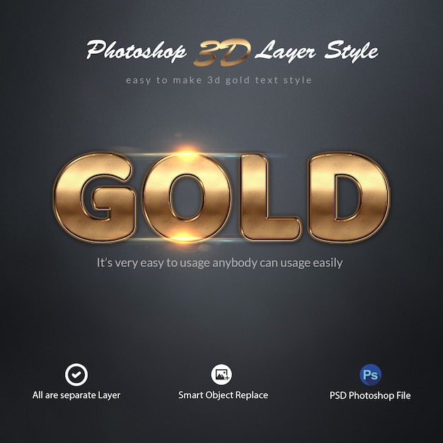 Effetti di testo in stile 3d gold photoshop layer Psd Premium