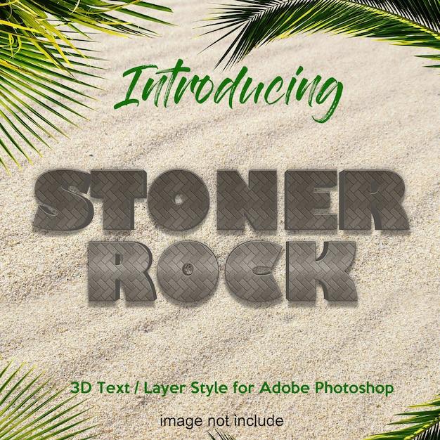 Effetti di testo in stile 3d rock stone earth photoshop Psd Premium