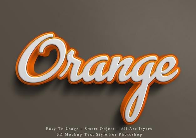 Effetto arancione di stile del testo del modello 3d Psd Premium