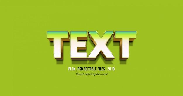 Effetto del testo 3d con sfondo verde Psd Premium