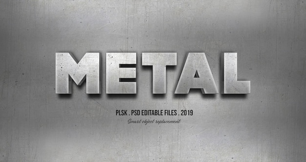Effetto di stile del testo 3d in metallo Psd Premium