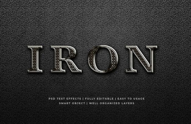 Effetto di stile del testo del metallo 3d del ferro Psd Premium