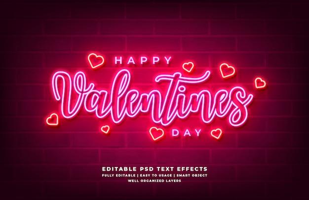 Effetto di stile del testo della luce al neon 3d felice di san valentino Psd Premium