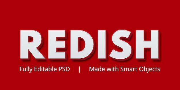 Effetto di stile di testo modificabile rossastro Psd Premium