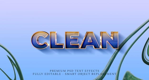 Effetto di stile testo pulito, effetti di testo premium Psd Premium