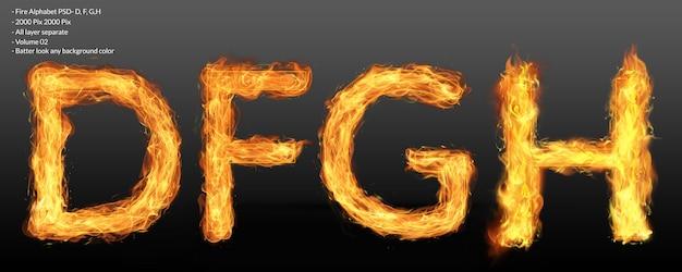 Effetto di testo alfabeto fuoco Psd Premium