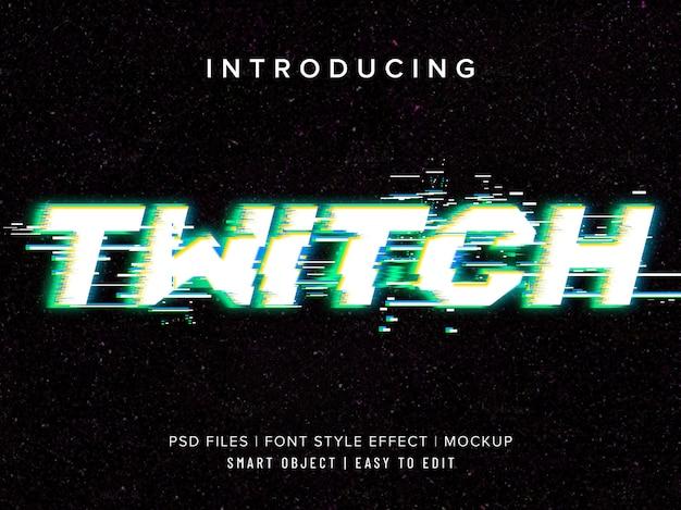 Effetto di testo della televisione video twitch Psd Premium