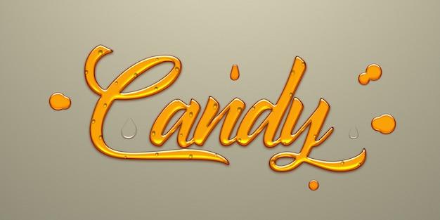 Effetto di testo dorato candy Psd Premium