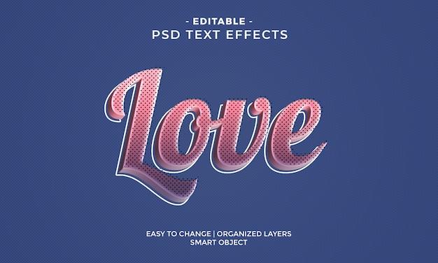 Effetto di testo moderno colorato lucido amore Psd Premium