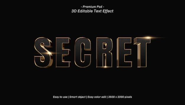 Effetto di testo modificabile segreto 3d Psd Premium