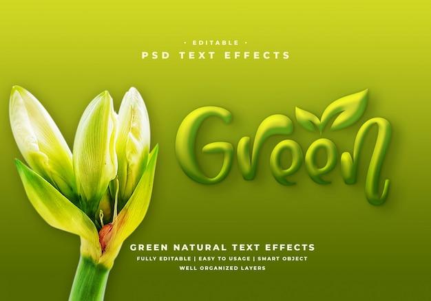 Effetto modificabile in stile testo verde 3d Psd Premium