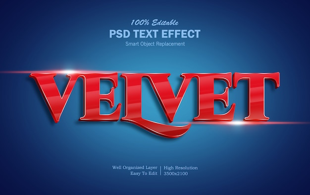 Effetto testo 3d in velluto Psd Premium