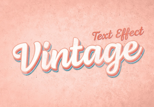Effetto testo vintage mockup Psd Premium