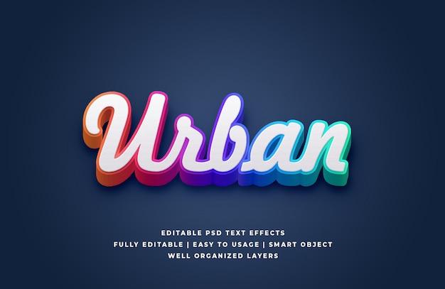 Effetto urbano di stile del testo di pendenza bianca 3d Psd Premium