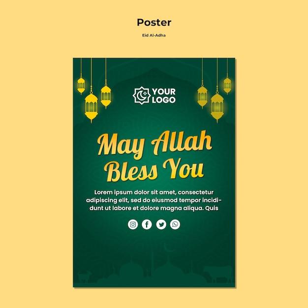 Eid al adha poster thema Gratis Psd