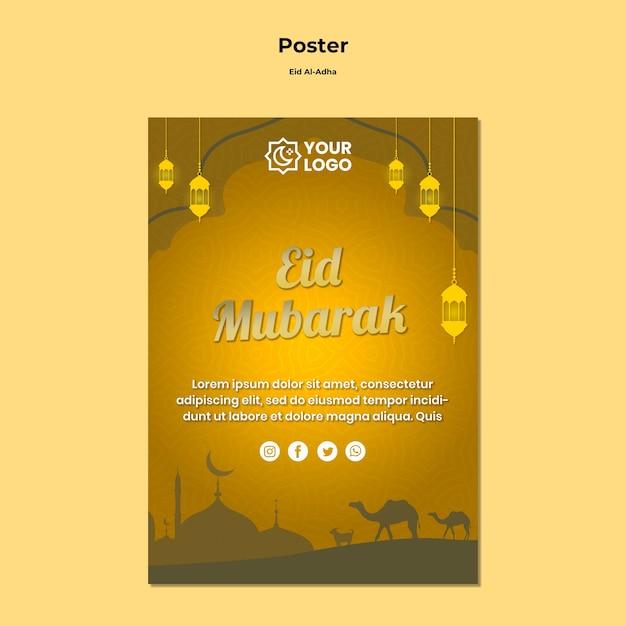 Eid al adha posterontwerp Gratis Psd