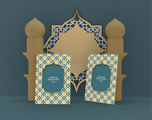 Eid mubarak, mockup voor wenskaarten. traditionele islamitische vakantie. Premium Psd