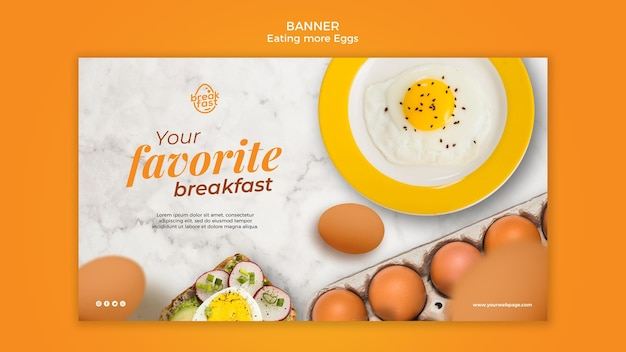 Eieren favoriete ontbijt sjabloon voor spandoek Gratis Psd