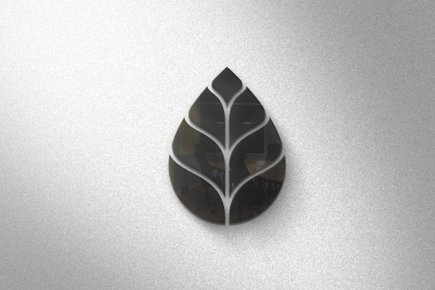 Elagant 3d glazen logo mockup op de muur Premium Psd