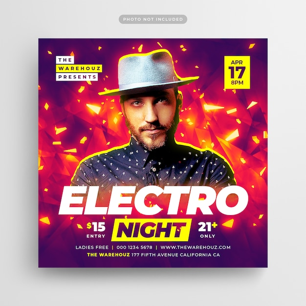 Electro night party flyer social media post & web banner Premium Psd