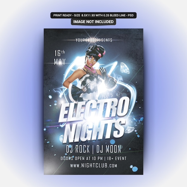 Electro nights party flyer Psd Premium