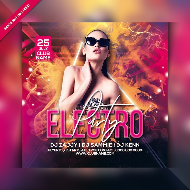 Electro party flyer Premium Psd