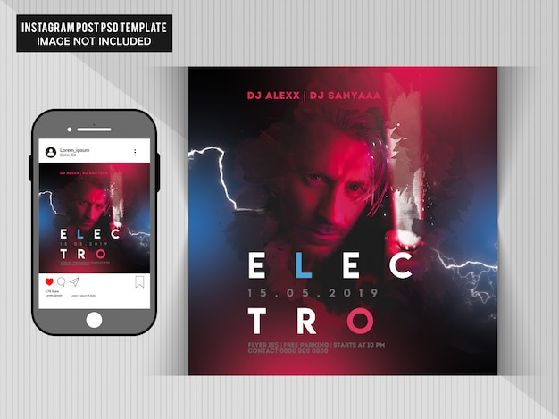 Electro party flyer Premium Psd
