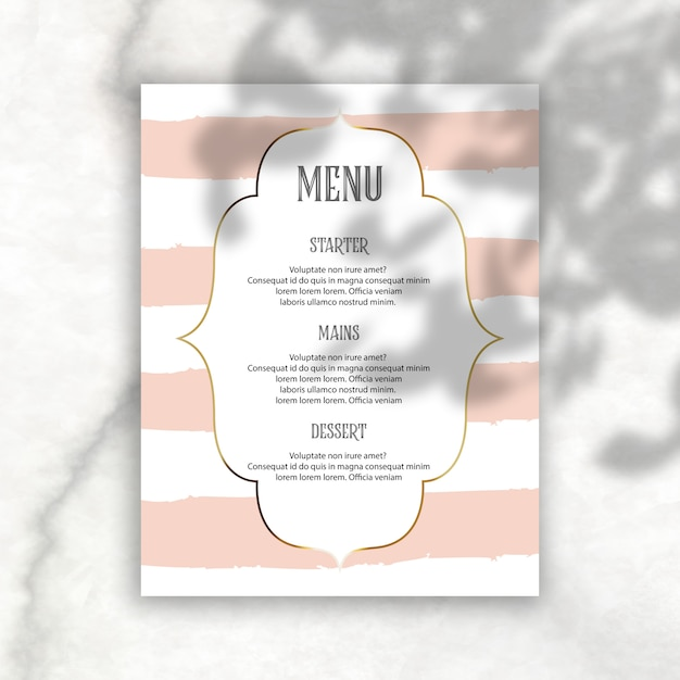 Elegant bewerkbaar menu met schaduwoverlay Gratis Psd