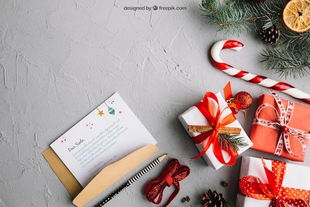 Elegant brievenmodel met kerstmisontwerp Gratis Psd