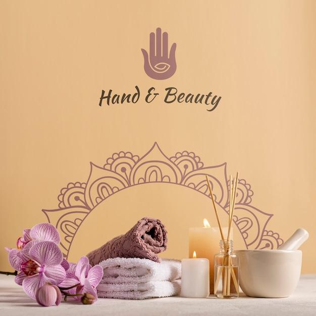 Elegant en natuurlijk pakket in spa met producten Gratis Psd