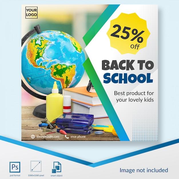 Elegant terug naar school korting sociale media post sjabloon Premium Psd