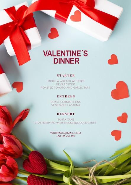 Elegant valentines diner mockup Gratis Psd
