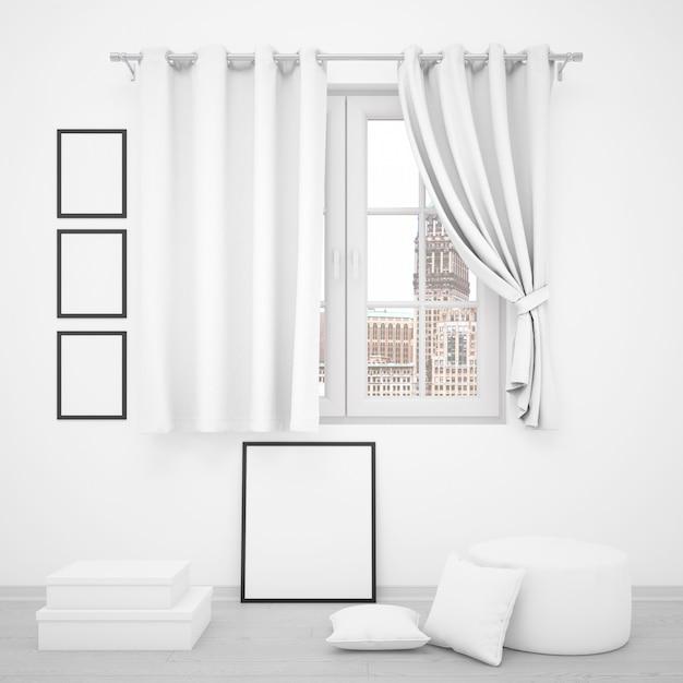 Elegant venster met lege fotolijsten rondom Gratis Psd