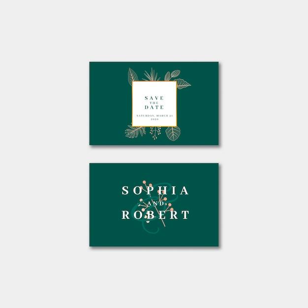 Elegant visitekaartje van de huwelijksuitnodiging met aardconcept Gratis Psd