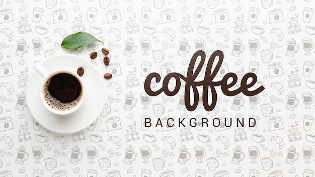 Elegante achtergrond met koffiekopje Gratis Psd