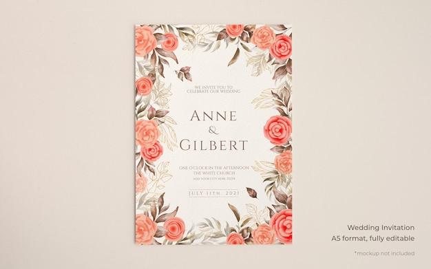 Elegante bruiloft uitnodiging sjabloon met florale decoratie Gratis Psd