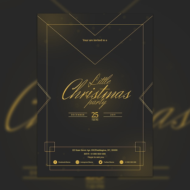 Elegante dark christmas party poster mockup Gratis Psd