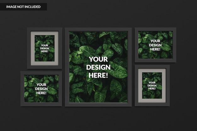 Elegante fotolijsten, mockups die aan de muur hangen Premium Psd