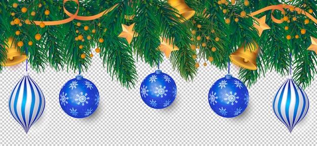 Elegante kerstmisachtergrond met blauwe decoratie Gratis Psd