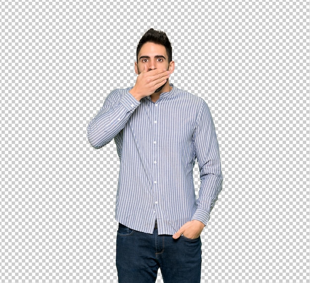 Elegante man met shirt die mond met handen voor het zeggen van iets ongepast Premium Psd