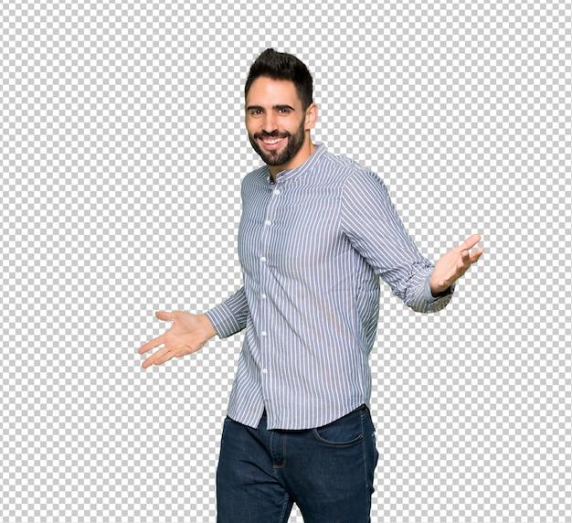 Elegante man met shirt trots en zelfverzekerd verliefd zelf concept Premium Psd