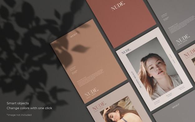 Elegante maqueta de colección de folletos con sombra botánica PSD gratuito