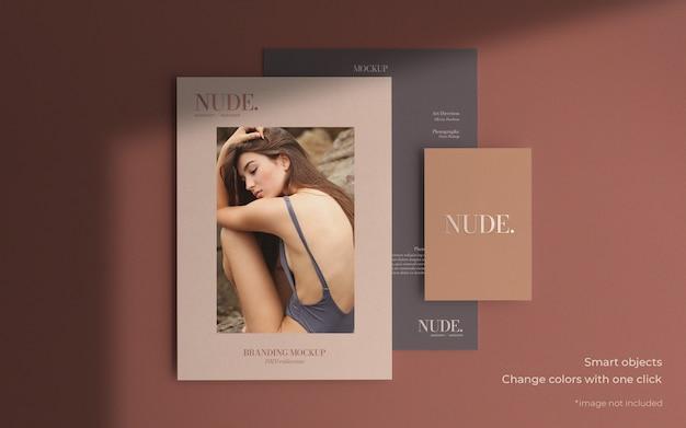 Elegante maqueta de folleto en diferentes tamaños. PSD gratuito