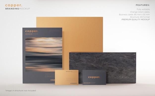 Elegante maqueta de psd de papelería de marca oscura y cobre PSD gratuito