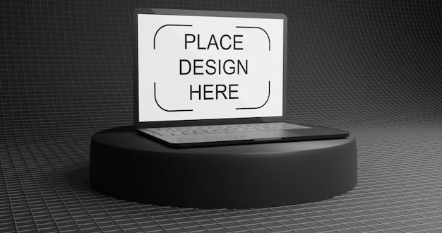 Elegante modello di laptop nero Psd Premium