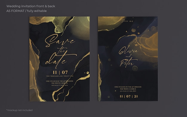 Elegante plantilla de invitación de boda negra y dorada PSD gratuito