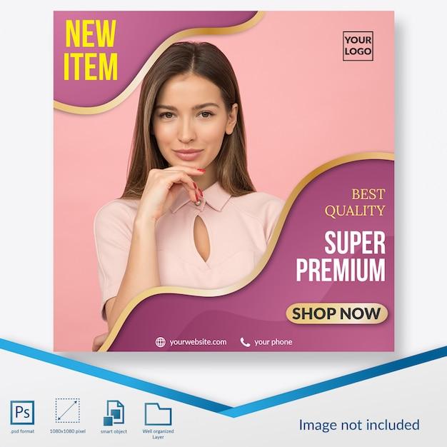 Elegante sconto rosa moda offerta banner quadrato o modello di post instagram Psd Premium