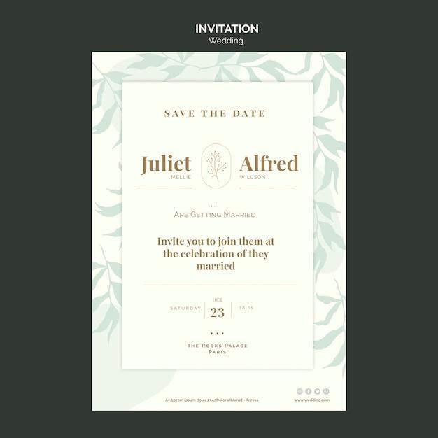 Elegante uitnodigingssjabloon voor bruiloft Gratis Psd