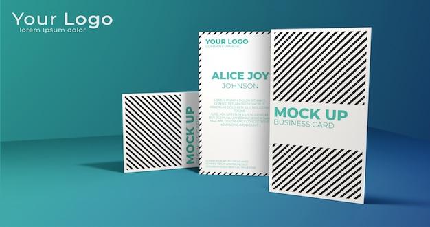 Elegante verticale visitekaartje mock up display Premium Psd